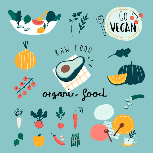 Vegan organic food set vectors Free Vector