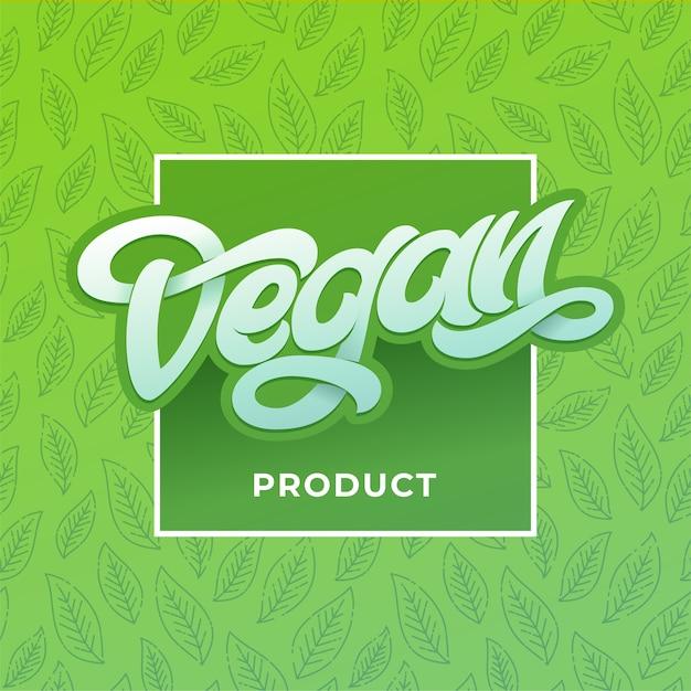 正方形のフレームを持つビーガン製品のタイポグラフィ。オーガニック健康的なロゴラベル、手レタリング、ビーガン社会のポスターのための薄緑色のデザイン。レストラン、カフェメニューの手書きのレタリング。 Premiumベクター