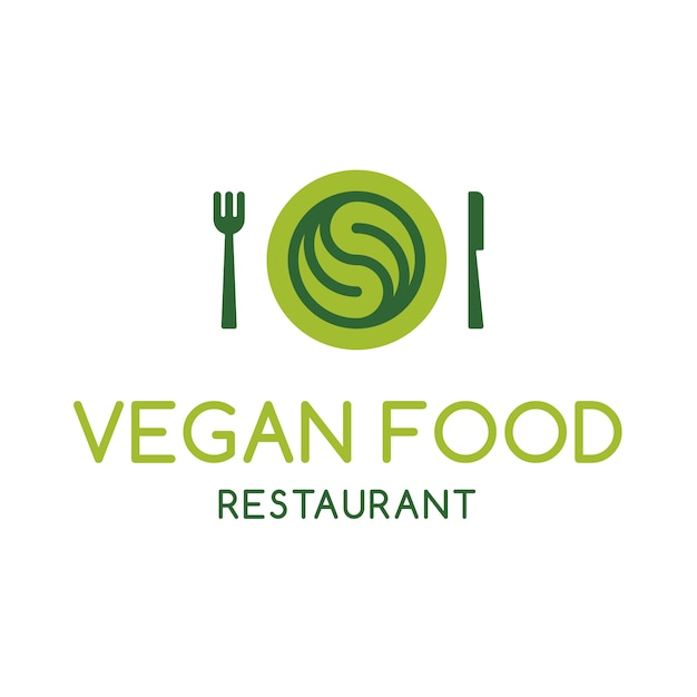 Vegan restaurant logo design vector premium download