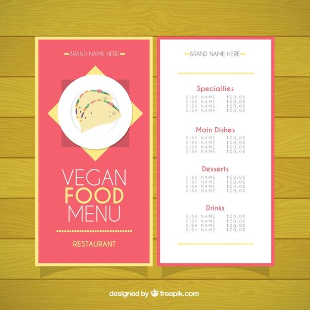 Vegan restaurant menu template Vector – Restaurants Menu Templates Free