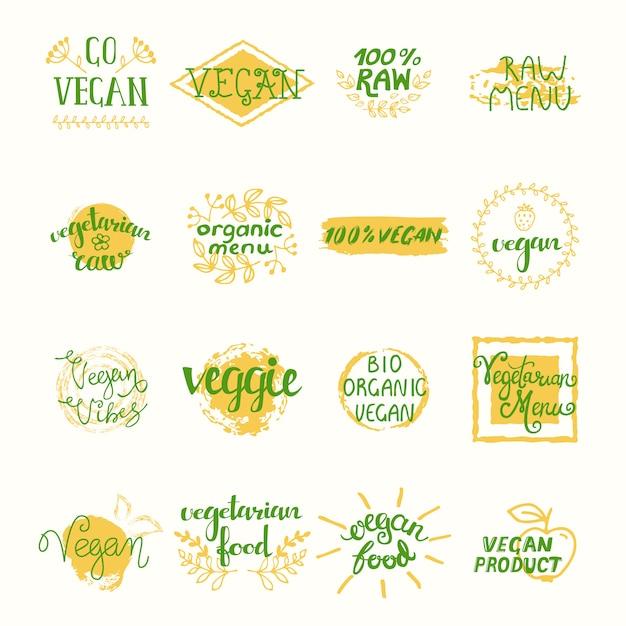 Vegan retro elements set of labels stickers tags badges Free Vector