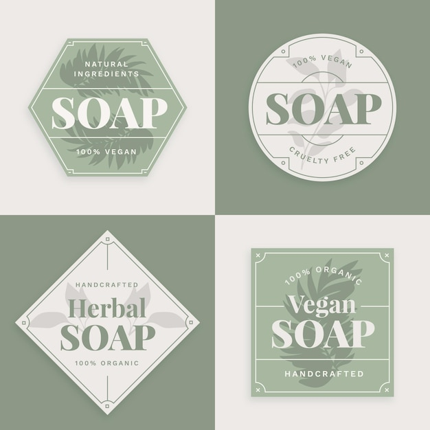 Vegan soap label collection Free Vector