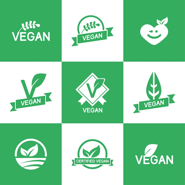 Шаблон vegan логотипы Бесплатные векторы