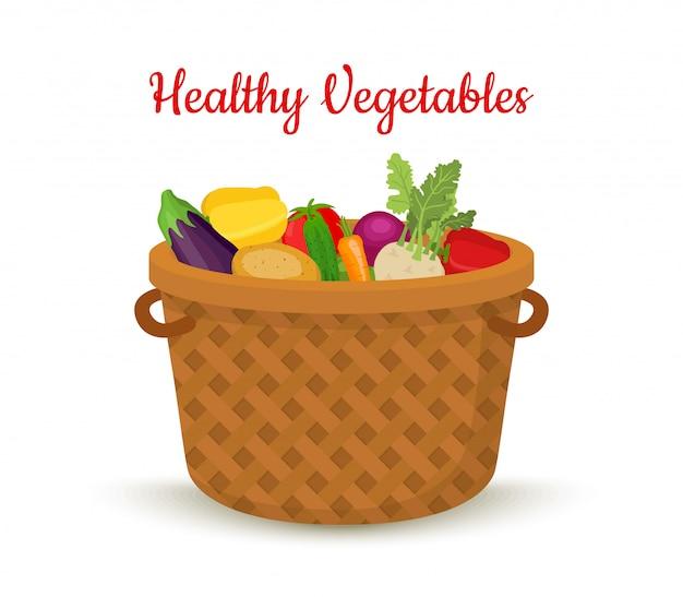 Vegetable basket, wicker box, farm product Premium Vector