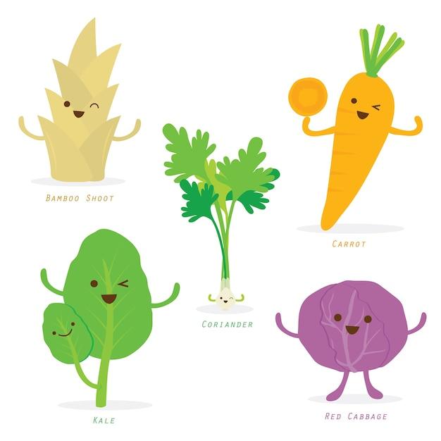 Vegetable cartoon cute set vector Premium Vector