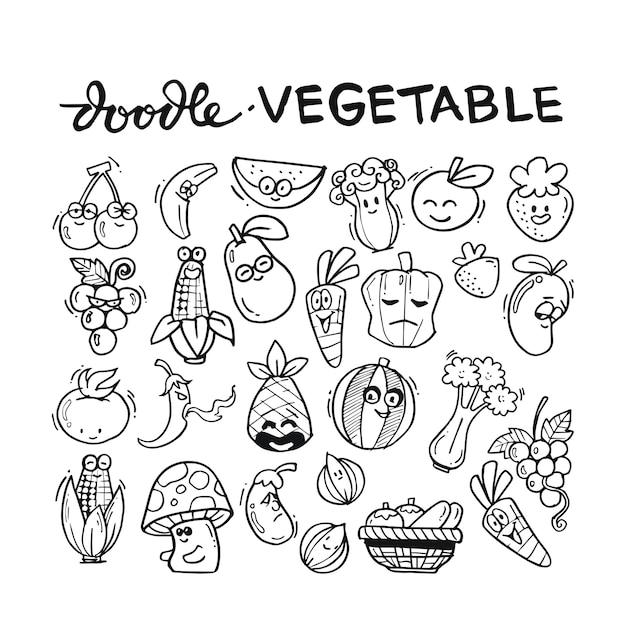 Vegetable doodle hand drawn set Premium Vector