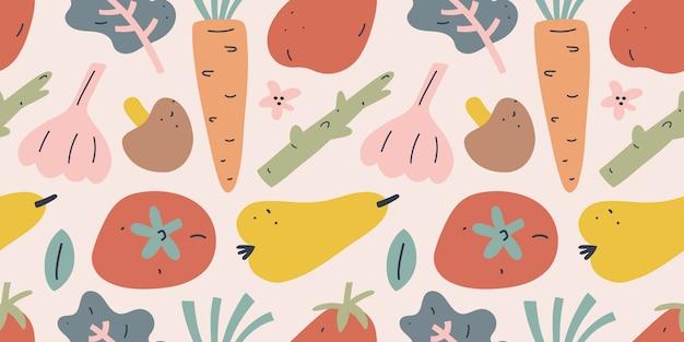 Vegetable and fruit illustration, seamless pattern Premium Vector