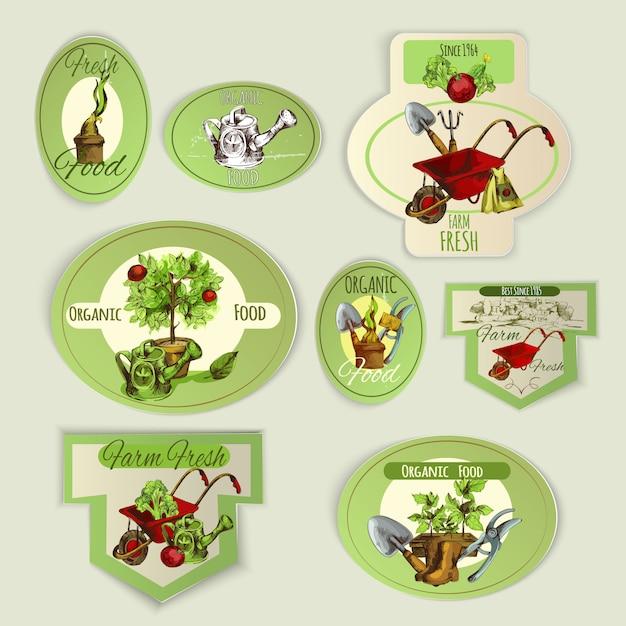 Vegetable gardening emblems Free Vector