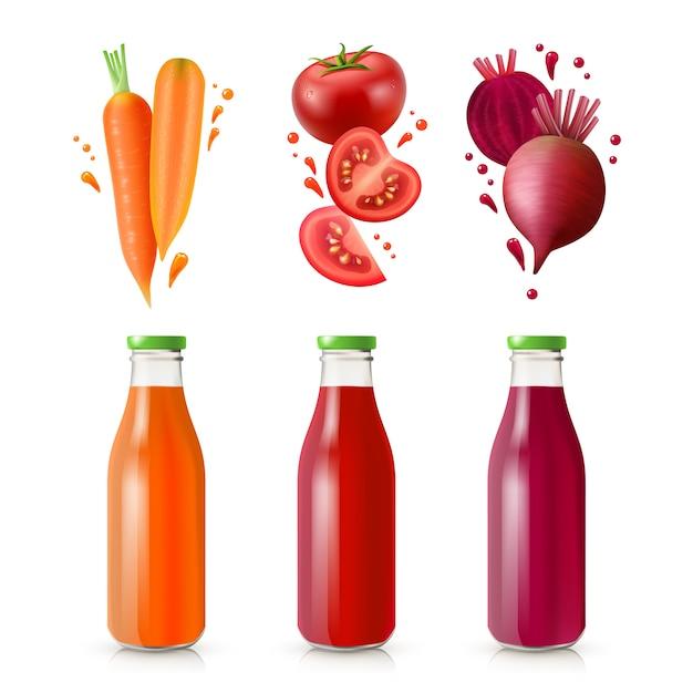 Vegetable juices set Free Vector