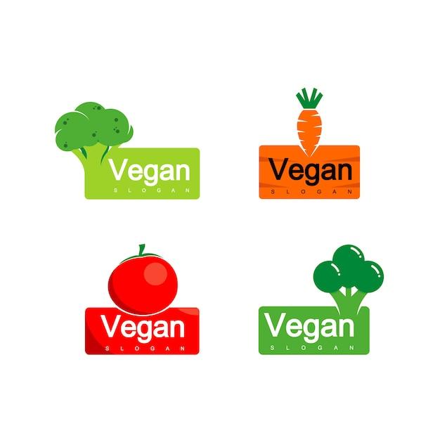Vegetable logo, vegan label design Premium Vector
