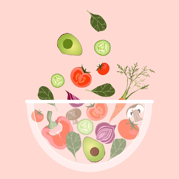 Vegetable salad bowl. vegetables falling into a bowl. trendy  illustration for web and print poster .  salad bowl. variety of   healthy vegetables. fresh avocado mixed with tomato. Premium Vector