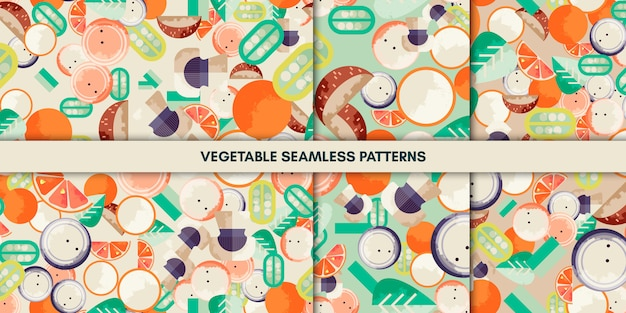 Vegetable seamless patterns Premium Vector