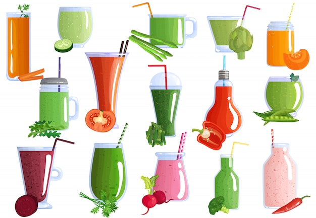 Vegetable smoothies set Free Vector