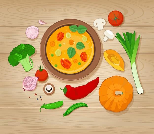 Овощной суп и ингредиенты на деревянных фоне Premium векторы