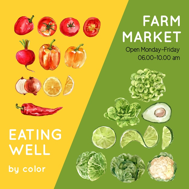 Vegetable watercolor paint collection. fresh food organic decor healthy ad illustration Free Vector