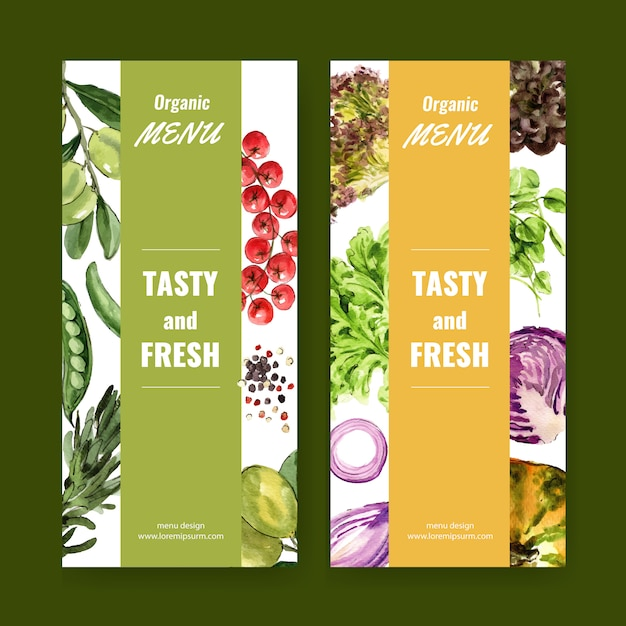 Vegetable watercolor paint collection. fresh food organic menu healthy illustration Free Vector