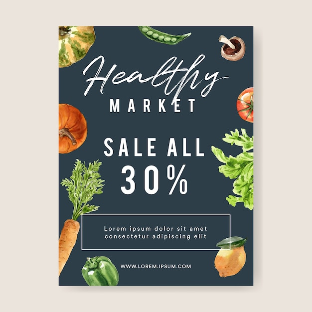 Vegetable watercolor paint collection. fresh food organic poster flyer healthy illustration Free Vector