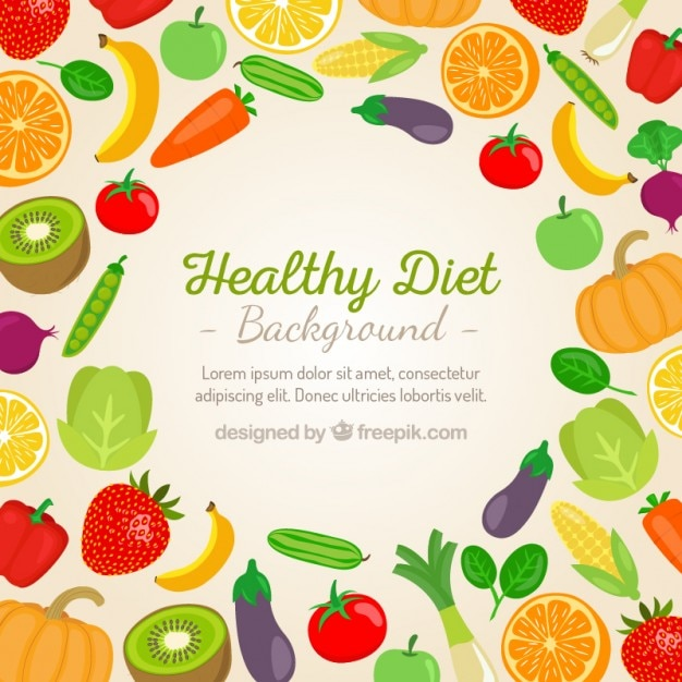 Vegetables and fruits background Free Vector