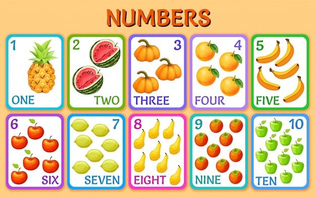 야채와 과일. 어린이 카드 번호. 무료 벡터