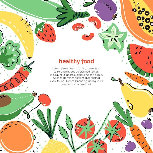 Овощи и фрукты рисованной illustratoin. здоровое питание, диета, питание. Premium векторы