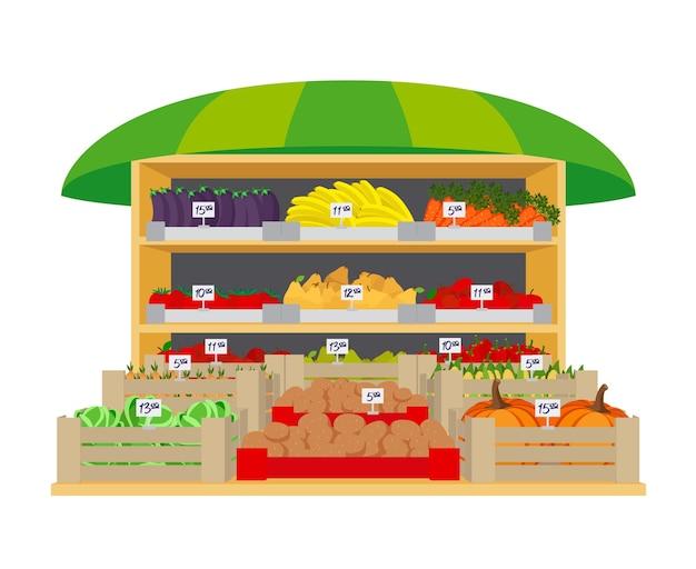 Рынок овощей и фруктов. баклажаны и перец, лук и картофель, здоровые и помидоры, бананы и яблоки, груши и тыквы. векторная иллюстрация Бесплатные векторы