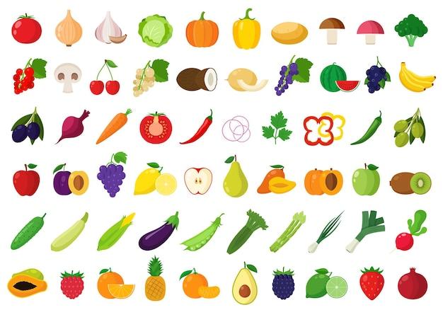 Набор овощей и фруктов для продуктов Premium векторы