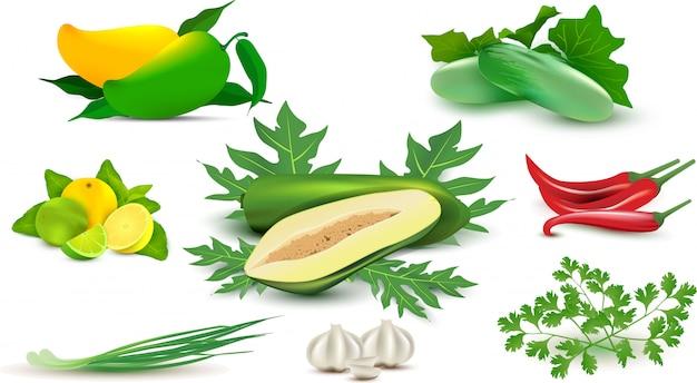 Овощи и специи Premium векторы