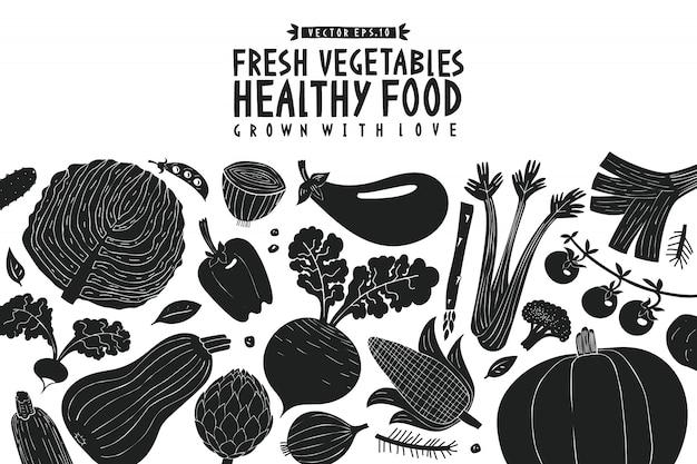 Vegetables background. linocut style. healthy food. Premium Vector