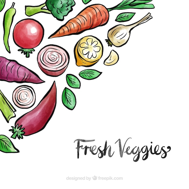 Vegetables background with watercolor style Free Vector