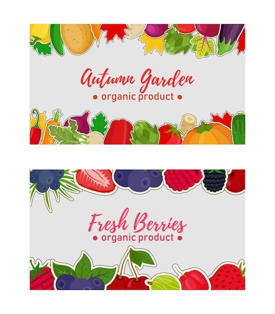 Vegetables, berries label, voucher for sale, market Premium Vector