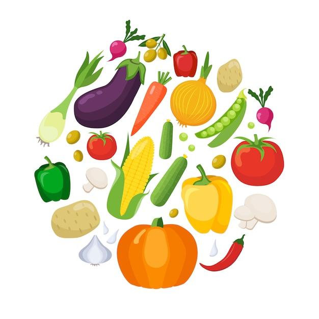 Овощи цветные иконки flat set Бесплатные векторы