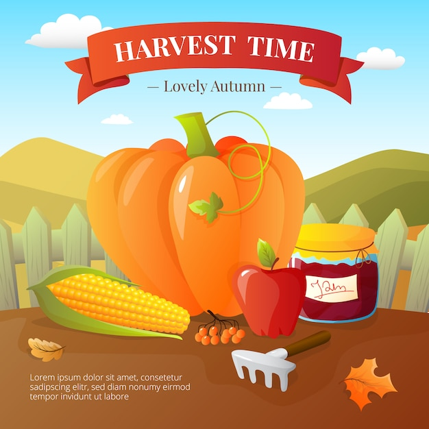 Vegetables crops and fruits harvest with pumpki Free Vector