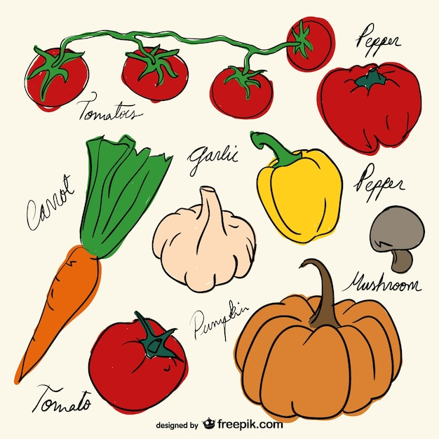 Vegetables drawing decoration free vector