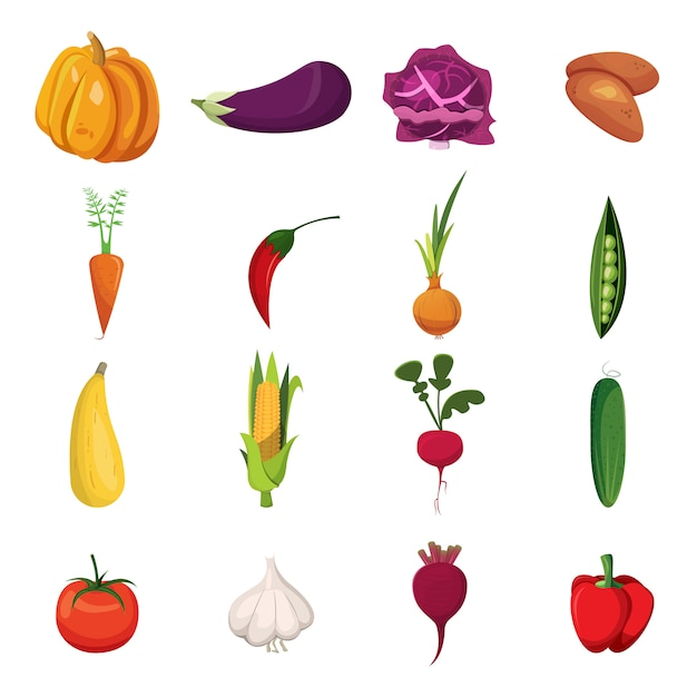 Набор элементов овощей Бесплатные векторы