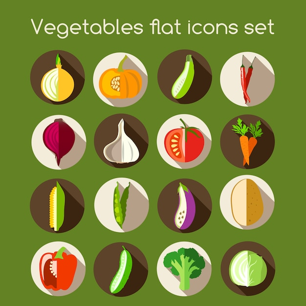 Vegetables flat icons Free Vector