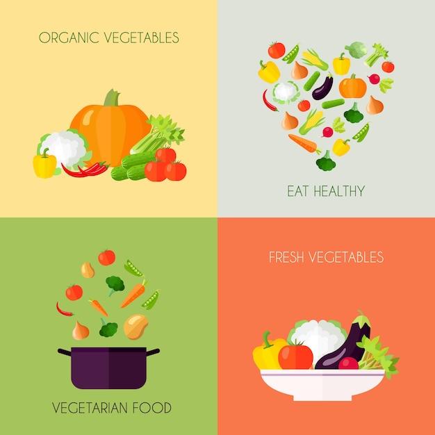 Vegetables flat set Free Vector
