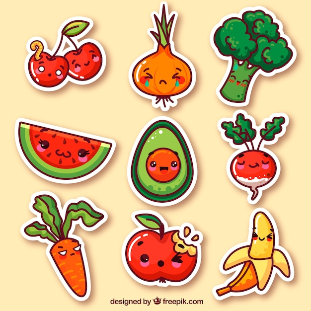 Vegetables and fruits funny stickers Free Vector