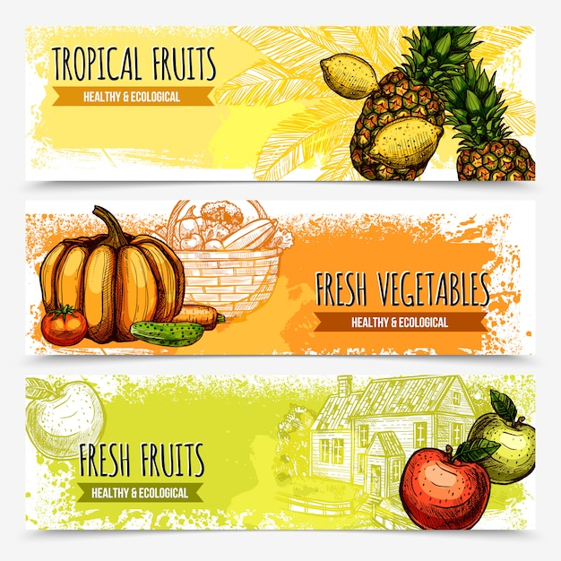 Vegetables and fruits horizontal banners Free Vector