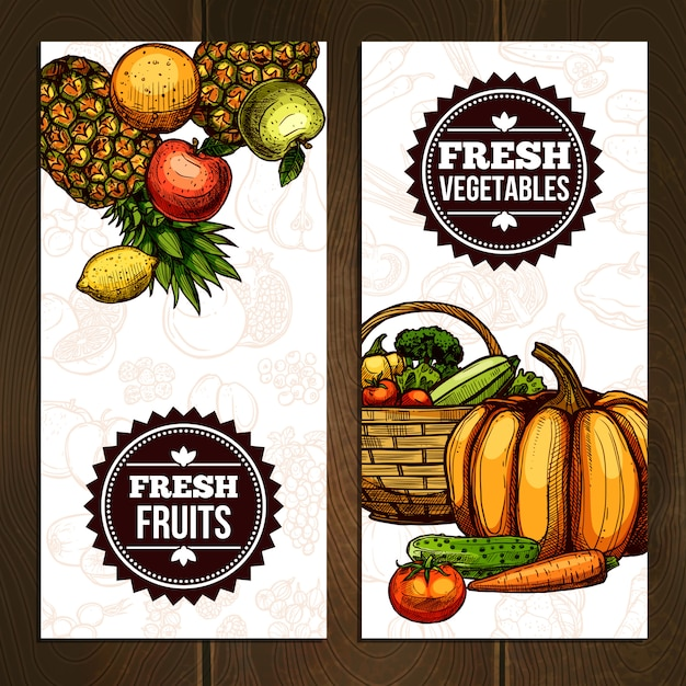 Vegetables and fruits vertical banners Free Vector
