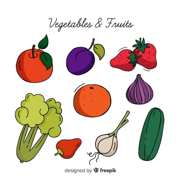 Vegetables and fruits Free Vector