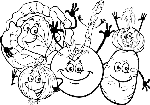Vegetables Group Cartoon For Coloring Book Premium Vector
