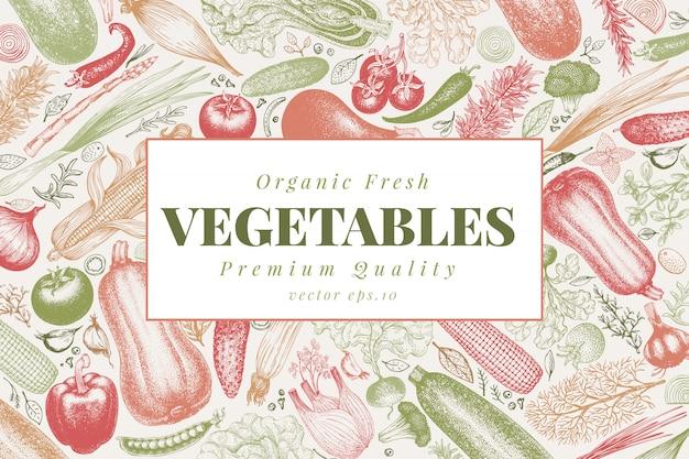 Vegetables hand drawn vector illustration. Premium Vector