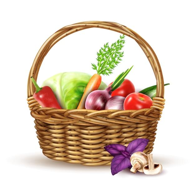 Immagine realistica del cestino di vimini del raccolto delle verdure Vettore gratuito
