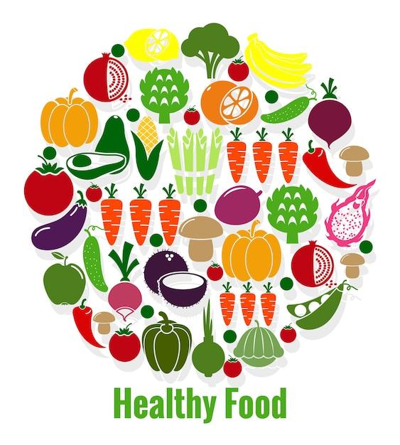 Овощи здорового питания. морковь и помидор, патисон и авокадо, веганский, огурец и перец. векторная иллюстрация Бесплатные векторы