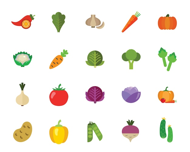 Vegetables icon set Free Vector