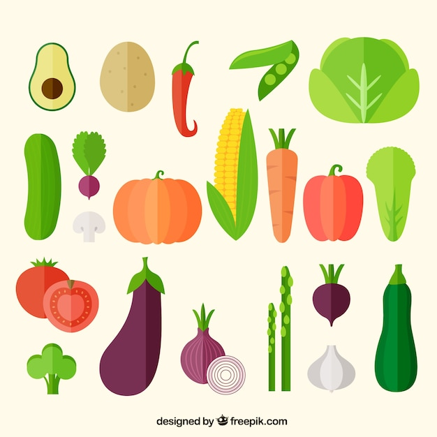 Vegetables icons collection Free Vector