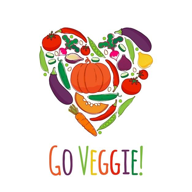 Vegetables icons in heart shape frame Premium Vector