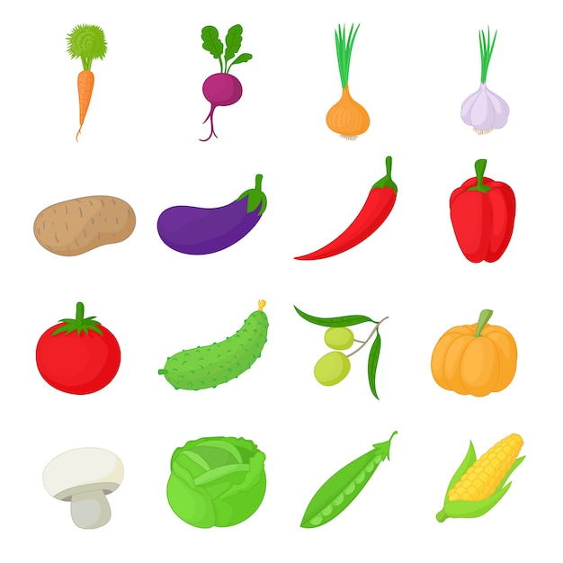 Vegetables icons set in cartoon style Premium Vector