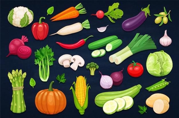 野菜アイコンを漫画のスタイルに設定します。 Premiumベクター
