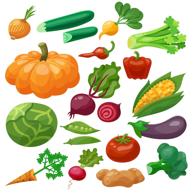 Vegetables icons set Free Vector